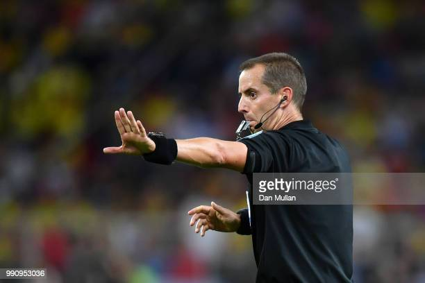 Referee Mark Geiger gestures during the 2018 FIFA World Cup Russia Round of 16 match between Colombia and England at Spartak Stadium on July 3 2018...