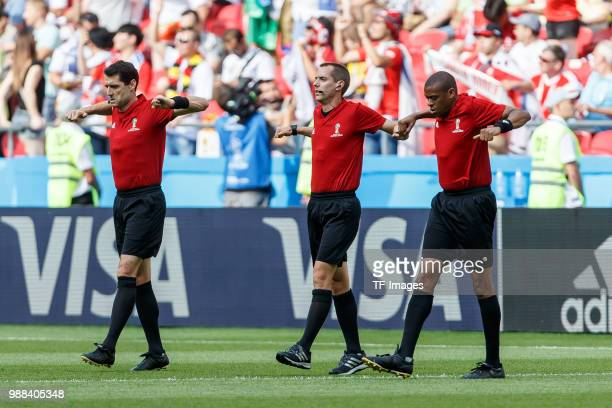 Referee Mark Geiger gestures prior to the 2018 FIFA World Cup Russia group F match between Korea Republic and Germany at Kazan Arena on June 27 2018...