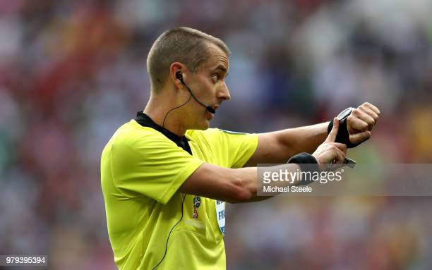 Referee Mark Geiger gives instructions during the 2018 FIFA World Cup Russia group B match between Portugal and Morocco at Luzhniki Stadium on June...