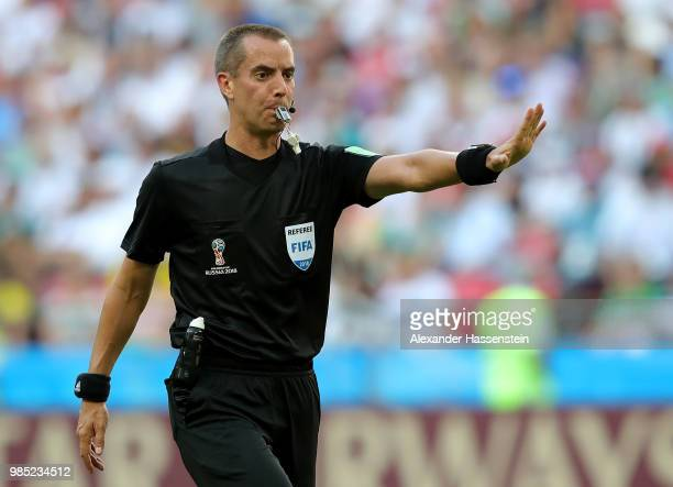 Referee Mark Geiger gives instructions during the 2018 FIFA World Cup Russia group F match between Korea Republic and Germany at Kazan Arena on June...