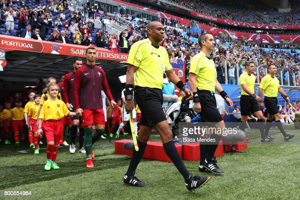 Referee Mark Geiger leads the two teams out prior to the FIFA Confederations Cup Russia 2017 Group A match between New Zealand and Portugal at Saint...
