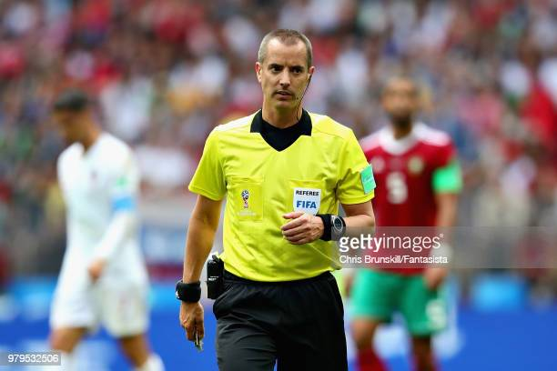 Referee Mark Geiger looks on during the 2018 FIFA World Cup Russia group B match between Portugal and Morocco at Luzhniki Stadium on June 20 2018 in...