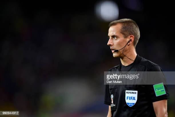 Referee Mark Geiger looks on during the 2018 FIFA World Cup Russia Round of 16 match between Colombia and England at Spartak Stadium on July 3 2018...