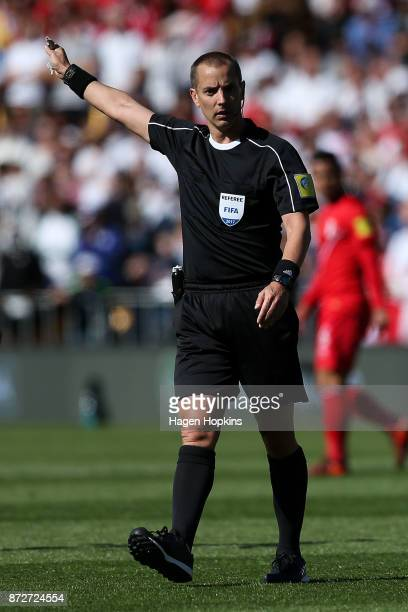Referee Mark Geiger makes a call during the 2018 FIFA World Cup Qualifier match between the New Zealand All Whites and Peru at Westpac Stadium on...