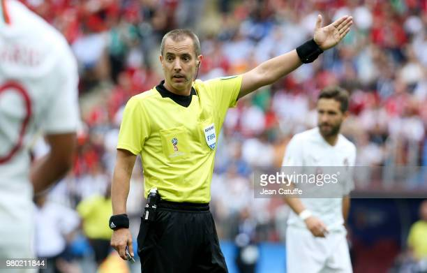Referee Mark Geiger of USA during the 2018 FIFA World Cup Russia group B match between Portugal and Morocco at Luzhniki Stadium on June 20 2018 in...