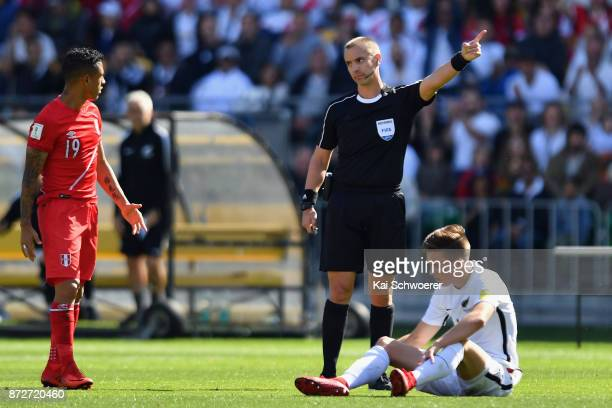 Referee Mark Geiger reacting during the 2018 FIFA World Cup Qualifier match between the New Zealand All Whites and Peru at Westpac Stadium on...