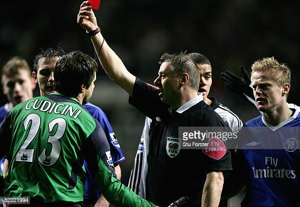 Referee Mark Halsey sends off Chelsea keeper Carlo Cudicini during the 5th Round FA Cup match between Newcastle United and Chelsea at St James Park...