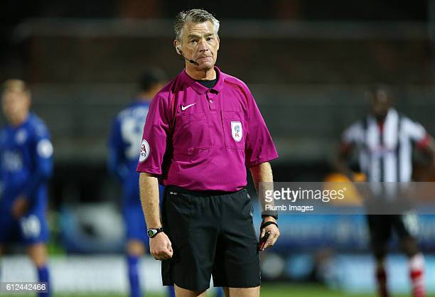 Referee Mark Haywood during the checkatrade Trophy match between Grimsby Town and Leicester City at Blundell Park on September 04 2016 in Grimsby...