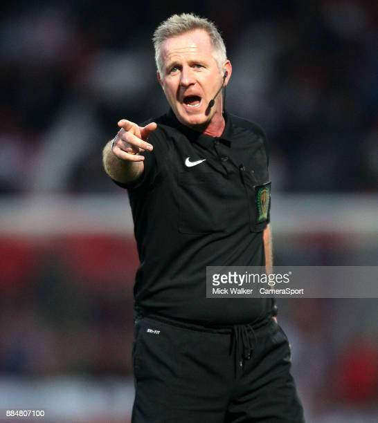 Referee Mark Heywood during the Sky Bet League One match between Doncaster Rovers and Rotherham United at Keepmoat Stadium on December 3 2017 in...