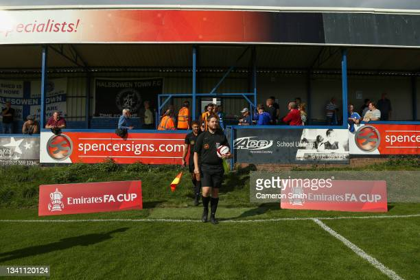 Referee, Mark Pearson during the Emirates FA Cup Second Qualifying Round match between Halesowen Town and Handsworth Parramore: at The Grove ground...