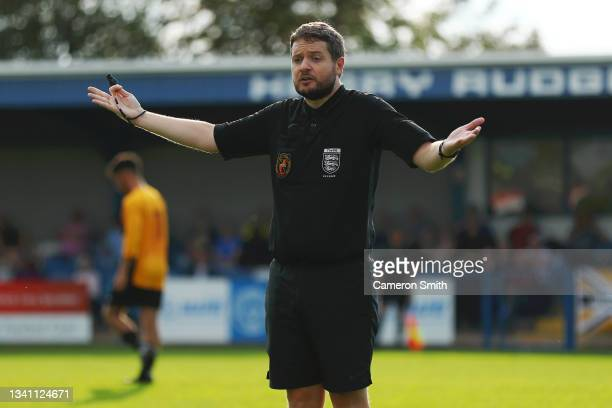 Referee, Mark Pearson reacts during the Emirates FA Cup Second Qualifying Round match between Halesowen Town and Handsworth Parramore: at The Grove...