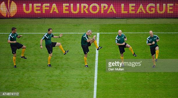 Referee Martin Atkinson and assistants warm up prior to the UEFA Europa League Final match between FC Dnipro Dnipropetrovsk and FC Sevilla on May 27...