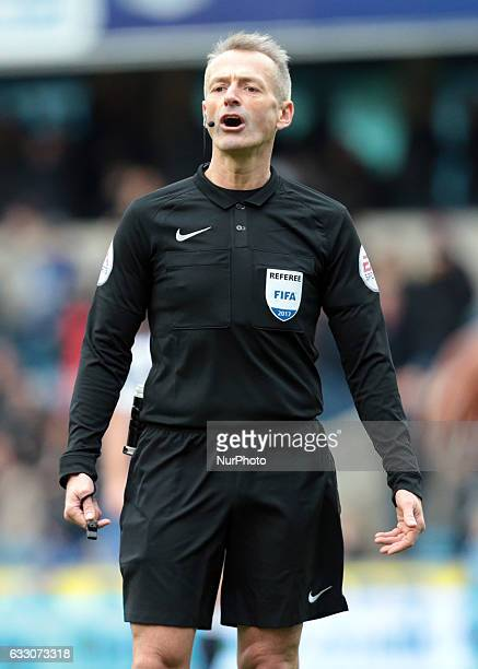 Referee Martin Atkinson during The Emirates FA Cup Fourth Round match between Millwall against Watford at The Den on 29th Jan 2017