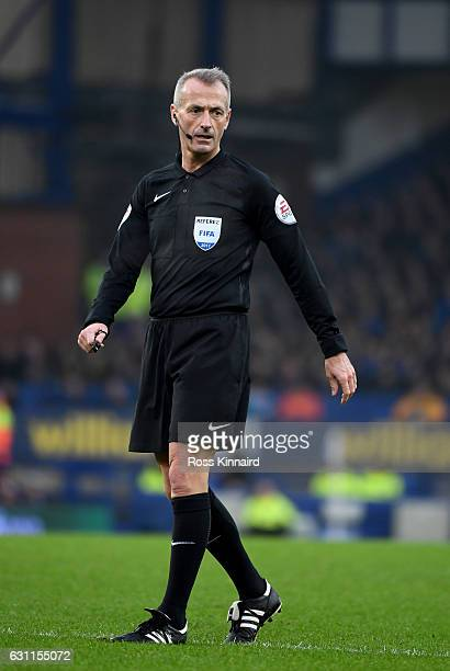 Referee Martin Atkinson during the Emirates FA Cup third round match between Everton and Leicester City at Goodison Park on January 7 2017 in...