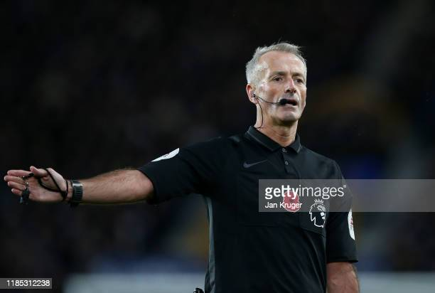 Referee Martin Atkinson during the Premier League match between Everton FC and Tottenham Hotspur at Goodison Park on November 03, 2019 in Liverpool,...