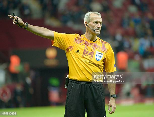 Referee Martin Atkinson during the UEFA Europa League Final match between FC Dnipro Dnipropetrovsk and FC Sevilla on May 27 2015 in Warsaw Poland...