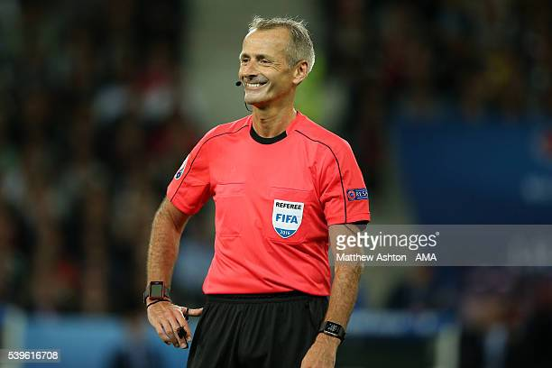 Referee Martin Atkinson from England during the UEFA EURO 2016 Group C match between Germany and Ukraine at Stade PierreMauroy on June 12 2016 in...