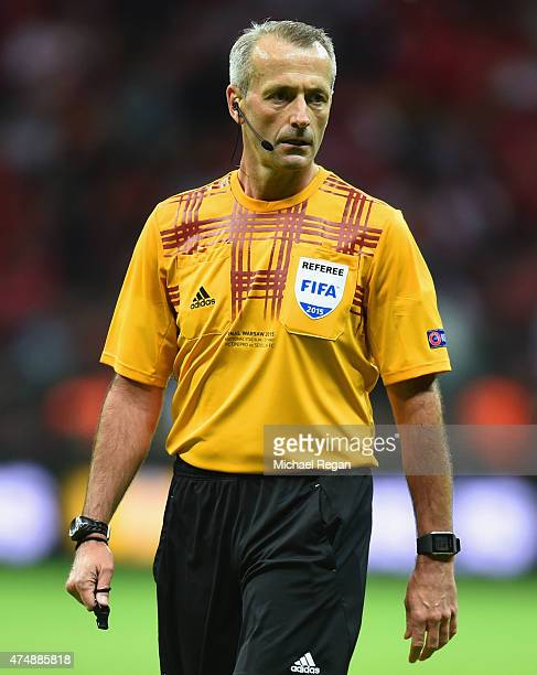 Referee Martin Atkinson looks on during the UEFA Europa League Final match between FC Dnipro Dnipropetrovsk and FC Sevilla on May 27 2015 in Warsaw...