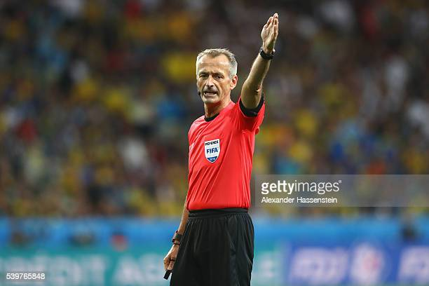 Referee Martin Atkinson reacts during the UEFA EURO 2016 Group C match between Germany and Ukraine at Stade PierreMauroy on June 12 2016 in Lille...