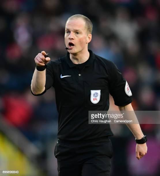 Referee Martin Coy during the Sky Bet League Two match between Lincoln City and Forest Green Rovers at Sincil Bank Stadium on December 30 2017 in...