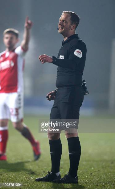 Referee Martin Coy in action during the Sky Bet League One match between Fleetwood Town and Northampton Town at Highbury Stadium on January 26, 2021...