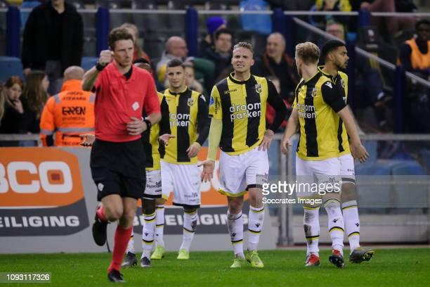 Referee Martin van den Kerkhof , Alexander Buttner of Vitesse during the Dutch Eredivisie match between Vitesse v SC Heerenveen at the GelreDome on...