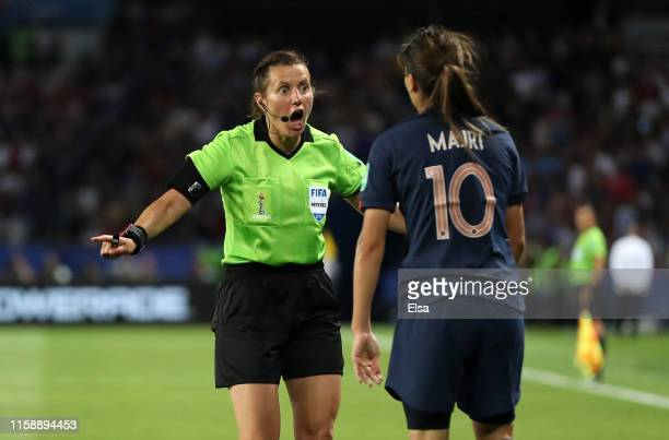 Referee Maryna Striletska dismisses a penalty claim during the 2019 FIFA Women's World Cup France Quarter Final match between France and USA at Parc...