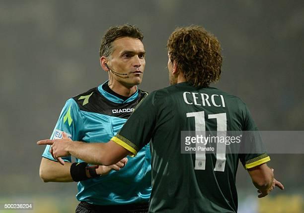 referee Massimiliani Irrati speakes with Alessio Cerci of AC Milan during the Serie A match between Carpi FC and AC Milan at Alberto Braglia Stadium...