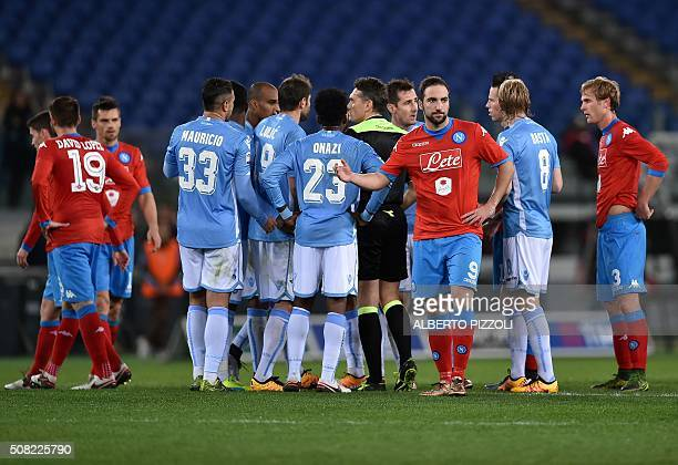 Referee Massimiliano Irrati suspends the game few minutes because of racist chants by Lazio's supporters during the Italian Serie A football match...