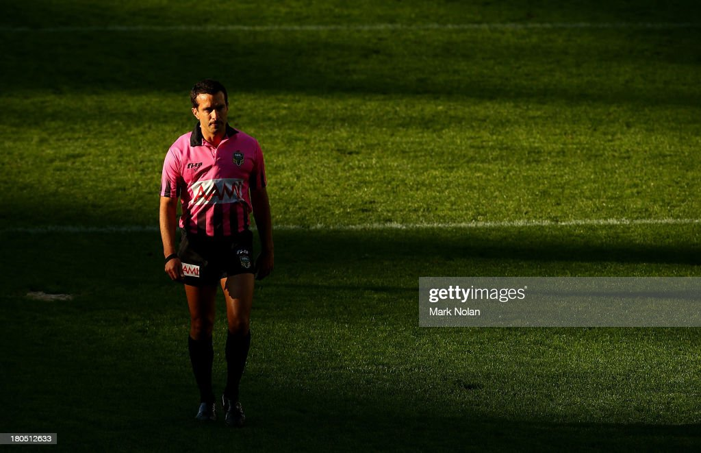 Referee Matt Cecchin is pictured during the NRL Elimination Final match between the Cronulla- Sutherland Sharks and the North Queensland Cowboys at Allianz Stadium on September 14, 2013 in Sydney, Australia.