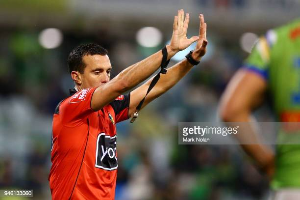 Referee Matt Cecchin sends Luke Bateman of the Raiders to the sin bin during the round six NRL match between the Canberra Raiders and the Parramatta...