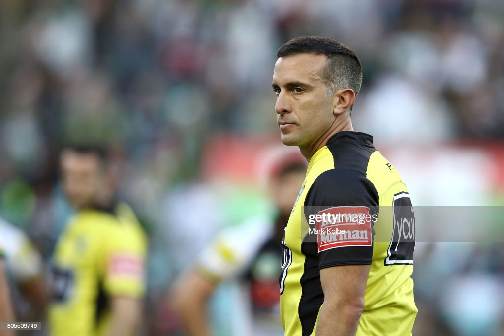 Referee Matt Cecchin watches on during the round 17 NRL match between the South Sydney Rabbitohs and the Penrith Panthers at ANZ Stadium on July 2, 2017 in Sydney, Australia.
