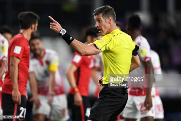 Referee Matt Conger of New Zealand gestures during the FIFA Club World Cup UAE 2017 Match for 5th Place between Wydad Casablanca and Urawa Reds at...