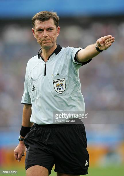 Referee Matthew Breeze of Australia during The FIFA Confederations Cup Match between Japan and Mexico at The AWD Arena on June 16 2005 in Hanover...