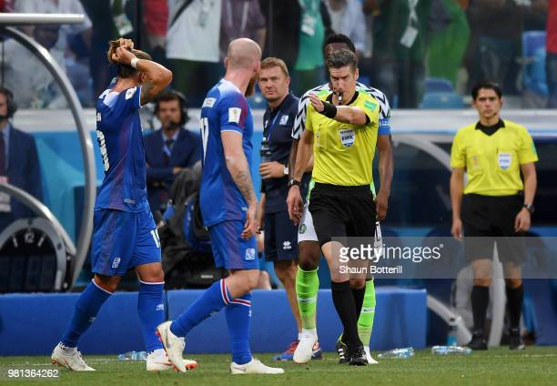 Referee Matthew Conger awards Iceland a penalty after reviewing VAR footage during the 2018 FIFA World Cup Russia group D match between Nigeria and...