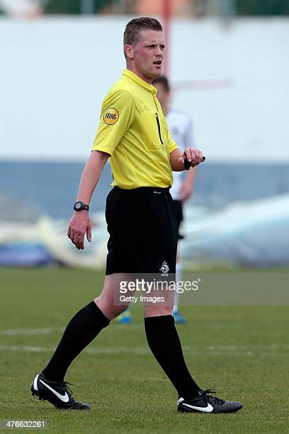 Referee Maurice Paarhuis during the UEFA Under16 Tournament match between U16 Portugal v U16 Germany on February 26 2014 in Vila Real de Santo...