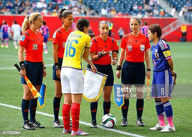 FIFA referee Melissa Borjas of Honduras performs the coin toss with Ligia Moreira of Ecuador and Aya Miyama of Japan prior the FIFA Women's World Cup...