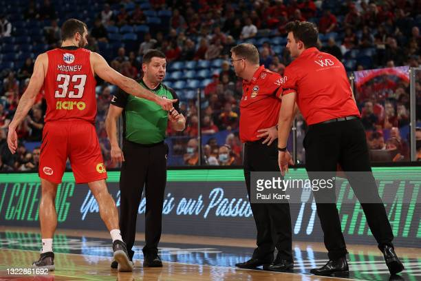 Referee Michael Aylen cautions Trevor Gleeson, coach of the Wildcats during game one of the NBL Semi-Final Series between the Perth Wildcats and the...