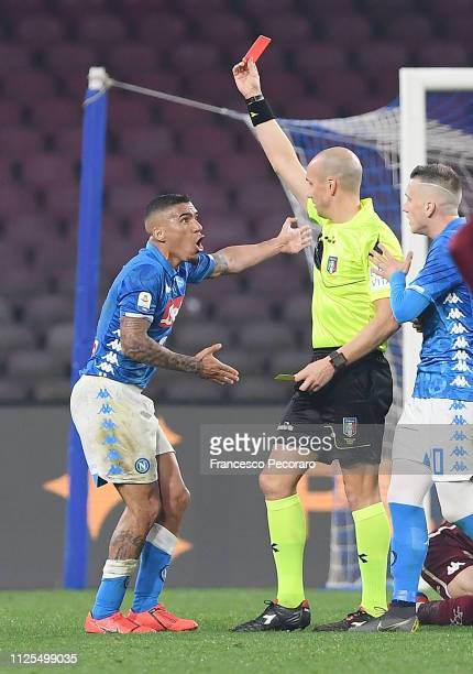 Referee Michael Fabbri shows wrongly the red card to Allan of SSC Napoli during the Serie A match between SSC Napoli and Torino FC at Stadio San...