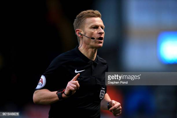 Referee Michael Jones during the Emirates FA Cup third round match between Ipswich Town and Sheffield United at Portman Road on January 6 2018 in...