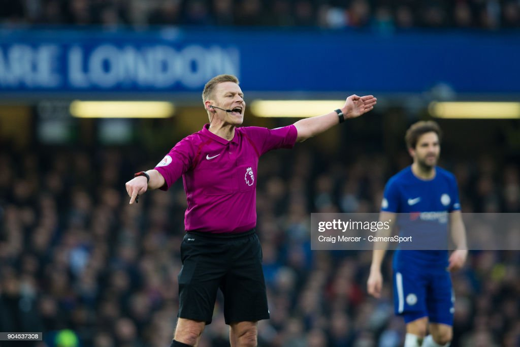 Referee Michael Jones during the Premier League match between Chelsea and Leicester City at Stamford Bridge on January 13, 2018 in London, England.