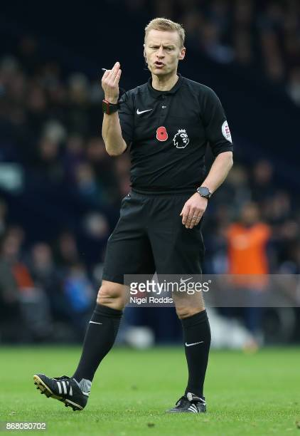 Referee Michael Jones during the Premier League match between West Bromwich Albion and Manchester City at The Hawthorns on October 28 2017 in West...