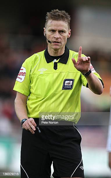 Referee Michael Jones in action during the npower League Two match between Northampton Town and Swindon Town at Sixfields Stadium on December 31 2011...