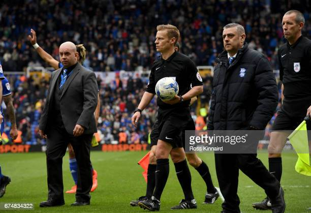 Referee Michael Jones leaving the field at half time during the Sky Bet Championship match between Birmingham City and Huddersfield Town at St...