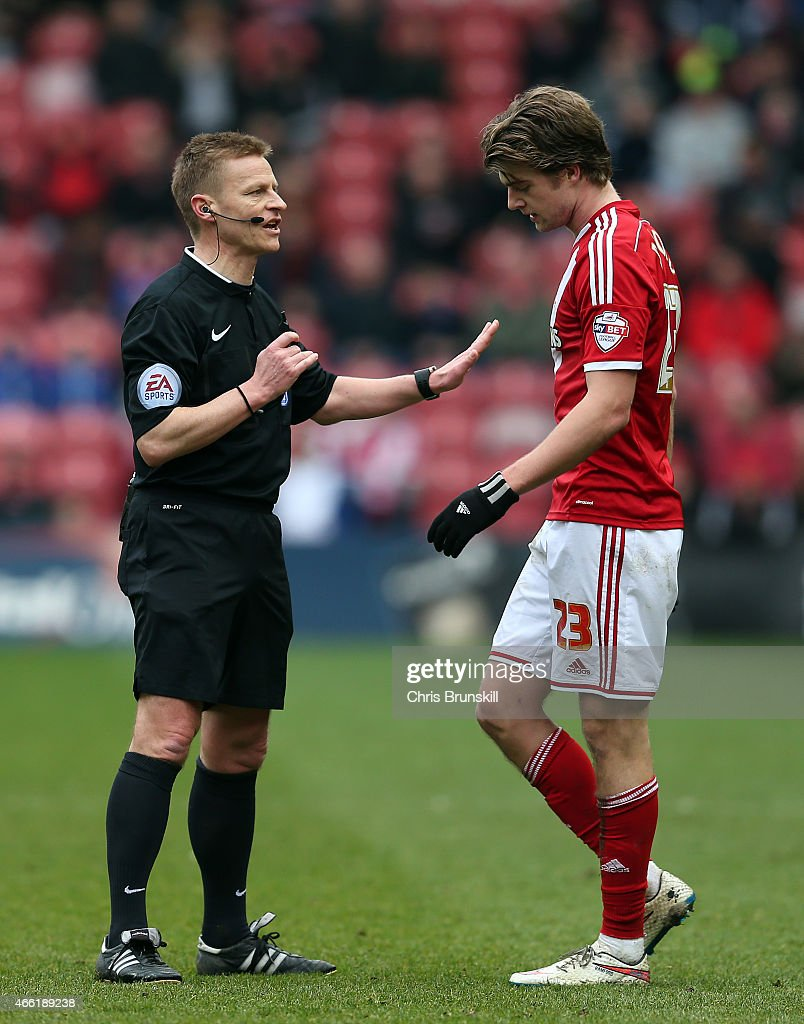 Referee Michael Jones makes a point to Patrick Bamford of Middlesbrough during the Sky Bet Championship match between Middlesbrough and Ipswich Town at the Riverside Stadium on March 14, 2015 in Middlesbrough, England.