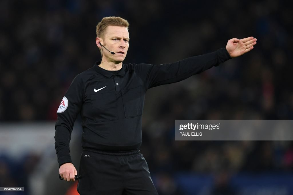 Referee Michael Jones officiates during the English FA Cup fourth round replay football match between Leicester City and Derby County at King Power Stadium in Leicester, central England on February 8, 2017. / AFP PHOTO / Paul ELLIS / RESTRICTED TO EDITORIAL USE. No use with unauthorized audio, video, data, fixture lists, club/league logos or 'live' services. Online in-match use limited to 75 images, no video emulation. No use in betting, games or single club/league/player publications. /