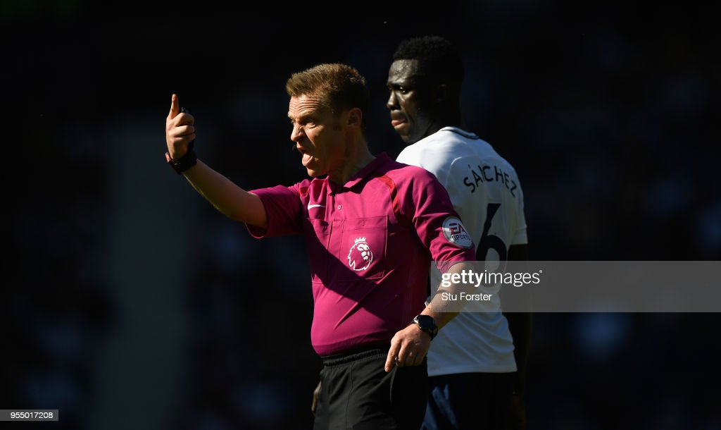Referee Michael Jones reacts during the Premier League match between West Bromwich Albion and Tottenham Hotspur at The Hawthorns on May 5, 2018 in West Bromwich, England.