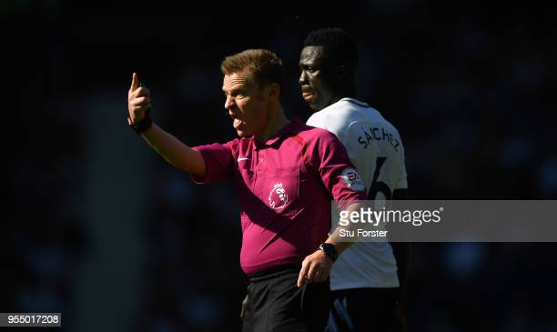 Referee Michael Jones reacts during the Premier League match between West Bromwich Albion and Tottenham Hotspur at The Hawthorns on May 5 2018 in...