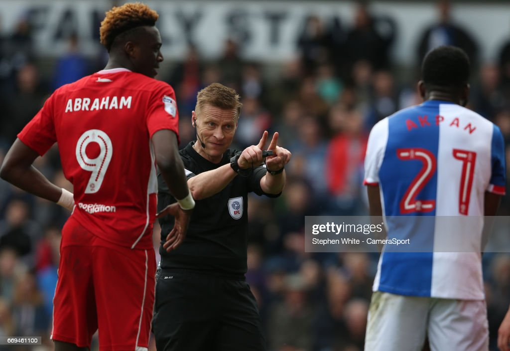 Referee Michael Jones reacts to Bristol City's goalkeeper Frank Fielding pushing in the penalty area during the Sky Bet Championship match between Blackburn Rovers and Bristol City at Ewood Park on April 17, 2017 in Blackburn, England.
