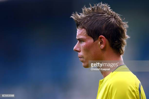 Referee Michael Kempter is seen during the Bundesliga match between VfL Bochum and VfL Wolfsburg at the rewirpower stadium on August 24, 2008 in...